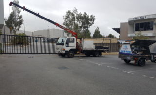 Wangara Units 300kg Gate - Collapsed Sliding gate wheel replacement use of Hiab