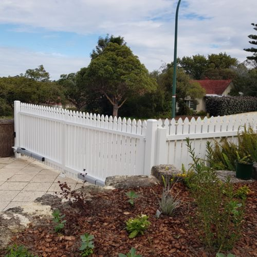 Newly Installed outward opening Double Swing Gate - Timber Picket Design